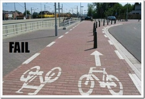 Bicycle road sign fail.