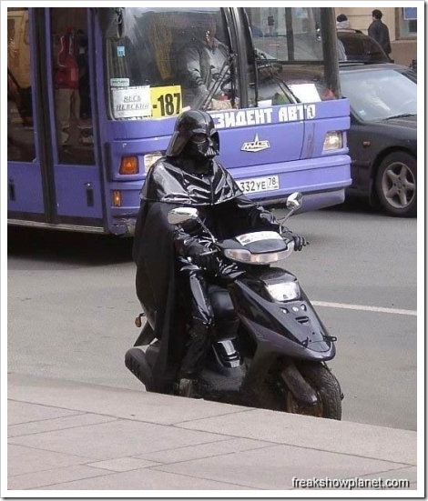 Darth Vader in scooter.