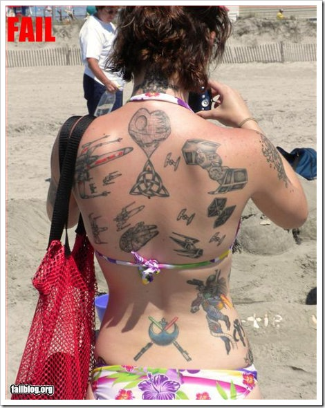Girl with funny tattoos of Star Wars.
