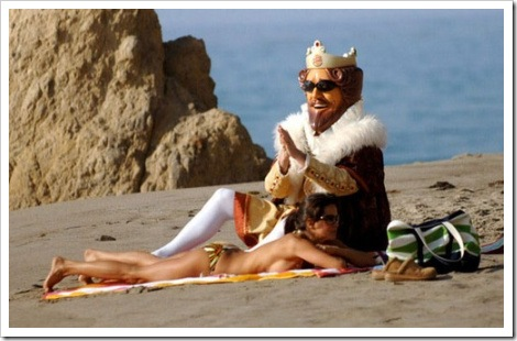 Burger king with woman on beach.