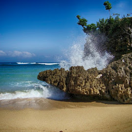 Hempasan ombak pantai ngliyep - malang - jatim. by Iwan Kurniawan - Landscapes Beaches