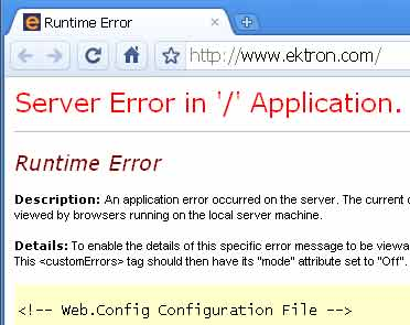 Screenshot of Ektron.com error page