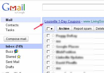 Screenshot of Google Gmail with WebClips