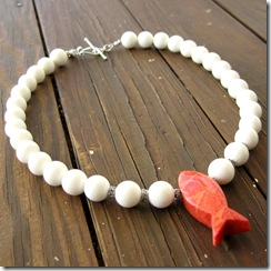 White Coral Necklace with Pink Fish Pendant 2