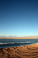 Sunset / Moonrise at the salt lake (San Pedro de Atacama, Chile)