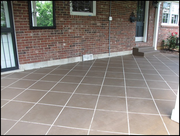 Cement Tiles For Backyard : It really looks like tile! Some of the stain bled through the sides of