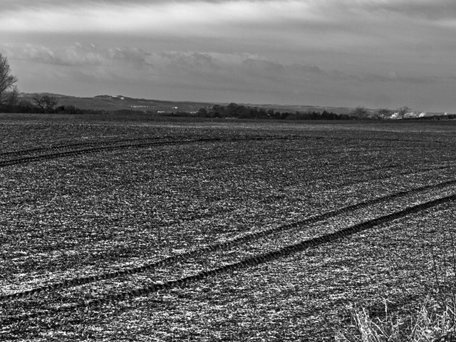 Ploughed fields and frost.
