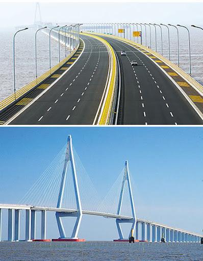 Jembatan terpanjang di dunia Hanzhou-bay-bridge