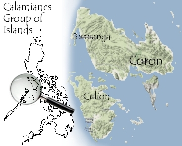 Map of Calamianes Group of Islands - Busuanga, Coron and Culion