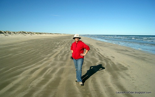 Laurie on the beach on Mustang Island.