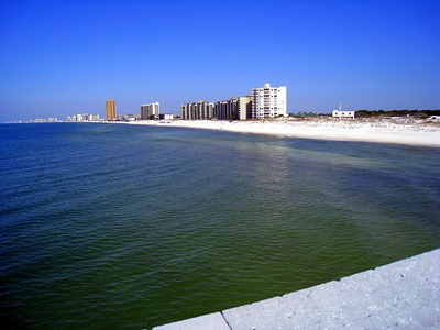Looking towards PCB; the development starts at the edge of the state park.