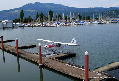Seaplane at the dock in Hood River, with the marina behind.