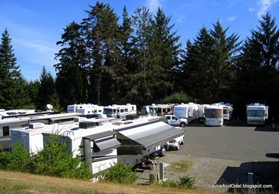 Eureka Elks RV parking viewed from the hilltop parking lot.