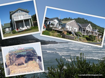 Yachats scenes: classic coastal cottages, the bay, and GOATS in the back of a pickup truck!