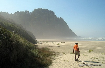 Odel on the deserted beach at Heceta Head, OR