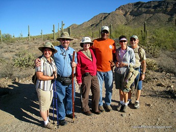 Bev, JC, Laurie, Odel, Nancy, Len, ready to conquer the trail.