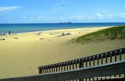The beach at Whitefish Point, with a big freighter in the far distance.