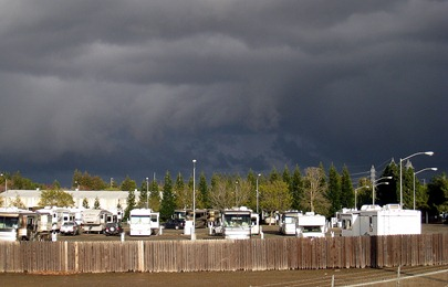 Storm clouds passing over the RV park