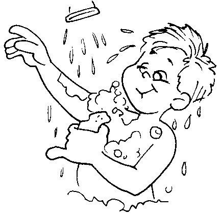 Dibujo de un niño bañándose en ducha para colorear - Imagui