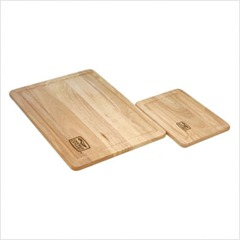 Woodworks 2 Piece Rubber Wood Cutting Board Set