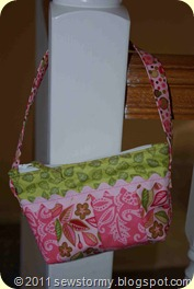 Mini pink and green quilted purse