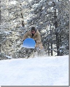 Brian sledding