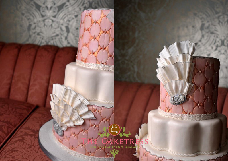 Pink and Peach wedding cake with sugar ruffles and broaches