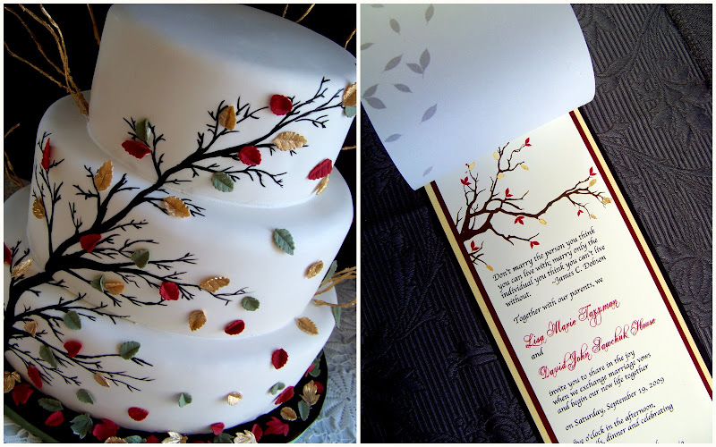 Cake inspired by wedding invitations