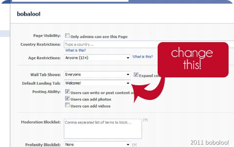 2 17 11 facebook landing page settings