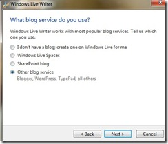 select the blog service you are using