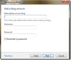 type the url of your blog