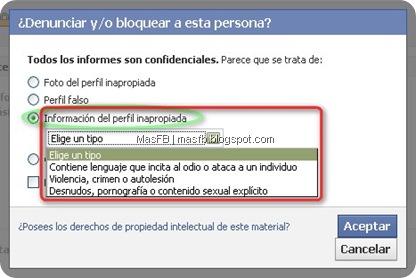 Información del perfil inapropiada Facebook