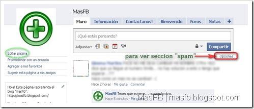 Sección de SPAM Facebook