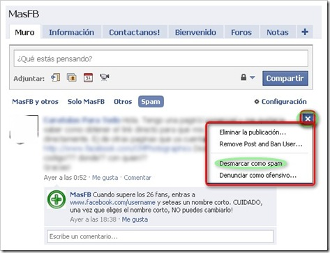 Desmarcar como SPAM Facebook