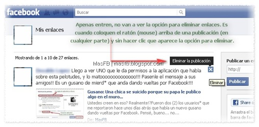 Eliminar enlaces Facebook MasFB