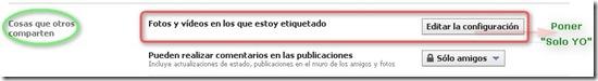 Editar opciones de privacidad etiquetas en Facebook