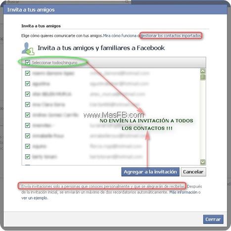 Invitar a amigos a Facebook
