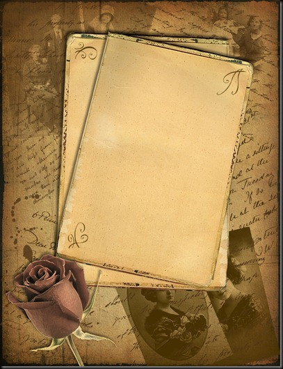 old paper and a rose