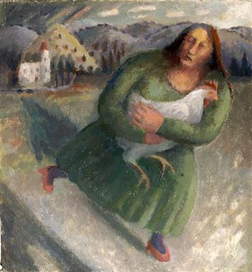 Kate Lynch - Rushing Woman With Cockerel
