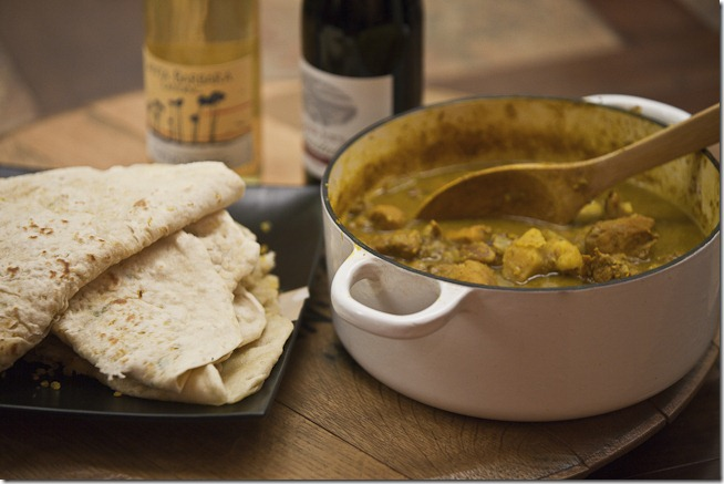 Curried Chicken and Potato Roti with Chenin Blanc