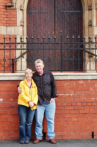 Kathleen and Danny outside St. Peter's Church, Middleton. 02/10/2010.