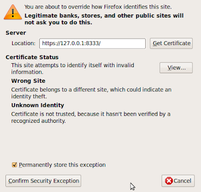 Click On Get Certificate And Then Confirm Security Exception To Add The VMware URL List