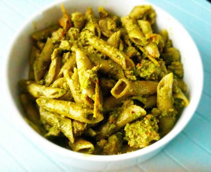 pasta with turkey veggies and pesto