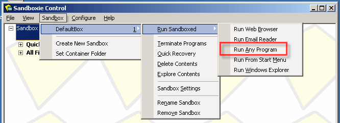 SandBoxie Control Box