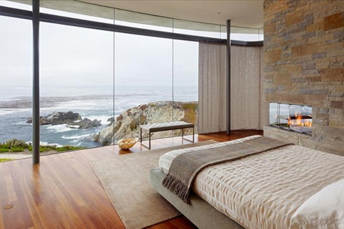 contemporary bedroom with stunning view