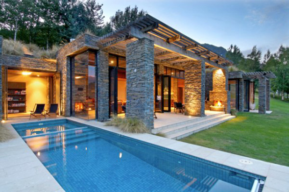 contemporary stone house exterior design