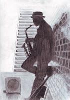 Čiernobiela kresba - saxofonista opretý o okachličkovanú stenu pravdepodobne niekde v podchode (nie je to jednoznačné). V pozadí je vidno schody idúce smerom hore. Na podlahe pri saxofonistovi je malý kufrík na peniaze.