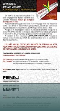 FENAJ Flyer Eletrônico Jornalista só com Diploma 2009
