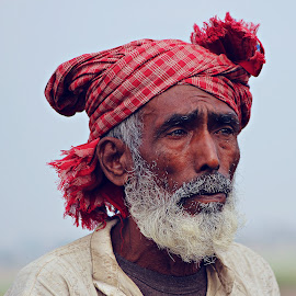 Thinking to solve his prblems by Subrata Sarkar - People Portraits of Men ( colour, old man, people, protraits )