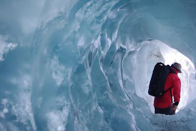 Inside glacier caves of Franz Josef Glacier